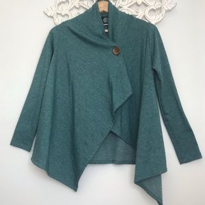Bobeau One Button Cardigan Wrap Long Sleeve Green